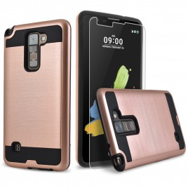 LG Stylos 2 Plus, LG Stylus 2 Plus Case, 2-Piece Style Hybrid Shockproof Hard Case Cover with [Premium Screen Protector] Hybird Shockproof And Circlemalls Stylus Pen (Rose Gold)