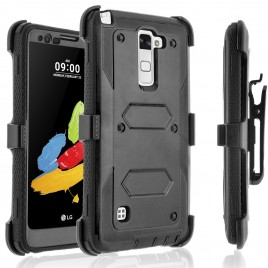 LG Stylos 2 Plus, LG Stylus 2 Plus Case, [SUPER GUARD] Dual Layer Protection With [Built-in Screen Protector] Holster Locking Belt Clip+Circle(TM) Stylus Touch Screen Pen (Black)