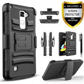 LG Stylos 2 Plus, LG Stylus 2 Plus Case, Dual Layers [Combo Holster] Case And Built-In Kickstand Bundled with [Premium Screen Protector] Hybird Shockproof And Circlemalls Stylus Pen (Black)