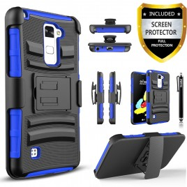 LG Stylos 2 Plus, LG Stylus 2 Plus Case, Dual Layers [Combo Holster] Case And Built-In Kickstand Bundled with [Premium Screen Protector] Hybird Shockproof And Circlemalls Stylus Pen (Blue)