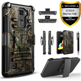 LG Stylos 2 Plus, LG Stylus 2 Plus Case, Dual Layers [Combo Holster] Case And Built-In Kickstand Bundled with [Premium Screen Protector] Hybird Shockproof And Circlemalls Stylus Pen (Camo)