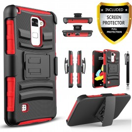 LG Stylos 2 Plus, LG Stylus 2 Plus Case, Dual Layers [Combo Holster] Case And Built-In Kickstand Bundled with [Premium Screen Protector] Hybird Shockproof And Circlemalls Stylus Pen (Red)