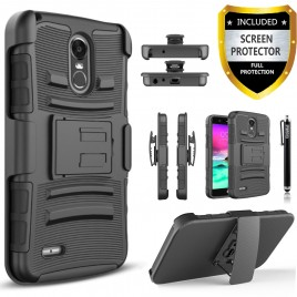 LG Stylo 3 Case, LG Stylo 3 Plus Case, [Combo Holster] And Built-In Kickstand Bundled with [Premium Screen Protector] Hybird Shockproof And Circlemalls Stylus Pen (Black)