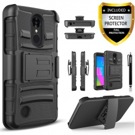 LG Aristo, LG LV3, LG Phoenix 3, LG K8 2017 Case, Dual Layers [Combo Holster] Case And Built-In Kickstand Bundled with [Premium Screen Protector] Hybird Shockproof And Circlemalls Stylus Pen (Black)