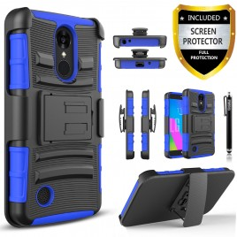 LG Aristo, LG LV3, LG Phoenix 3, LG K8 2017 Case, Dual Layers [Combo Holster] Case And Built-In Kickstand Bundled with [Premium Screen Protector] Hybird Shockproof And Circlemalls Stylus Pen (Blue)