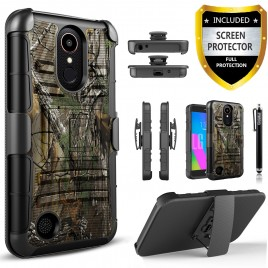 LG Aristo, LG LV3, LG Phoenix 3, LG K8 2017 Case, Dual Layers [Combo Holster] Case And Built-In Kickstand Bundled with [Premium Screen Protector] Hybird Shockproof And Circlemalls Stylus Pen (Camo)