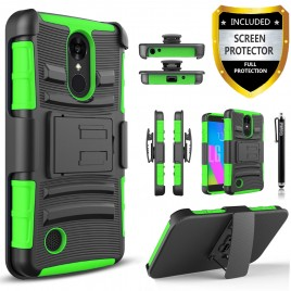 LG Aristo, LG LV3, LG Phoenix 3, LG K8 2017 Case, Dual Layers [Combo Holster] Case And Built-In Kickstand Bundled with [Premium Screen Protector] Hybird Shockproof And Circlemalls Stylus Pen (Green)