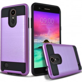 LG Aristo, LG LV3, LG Phoenix 3, LG K8 2017 Case, 2-Piece Style Hybrid Shockproof Hard Case Cover Hybird Shockproof And Circlemalls Stylus Pen (Purple)
