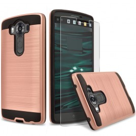 LG V10 Case, 2-Piece Style Hybrid Shockproof Hard Case Cover with [Premium Screen Protector] Hybird Shockproof And Circlemalls Stylus Pen (Rose Gold)