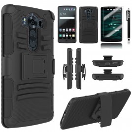 LG V10 Case, Dual Layers [Combo Holster] Case And Built-In Kickstand Bundled with [Premium Screen Protector] Hybird Shockproof And Circlemalls Stylus Pen (Black)