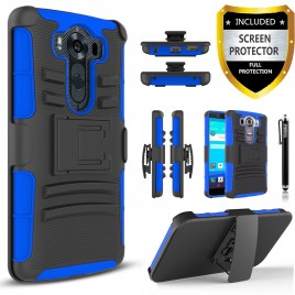 LG V10 Case, Dual Layers [Combo Holster] Case And Built-In Kickstand Bundled with [Premium Screen Protector] Hybird Shockproof And Circlemalls Stylus Pen (Blue)