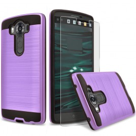 LG V10 Case, 2-Piece Style Hybrid Shockproof Hard Case Cover with [Premium Screen Protector] Hybird Shockproof And Circlemalls Stylus Pen (Purple)