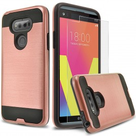 LG V20 Case, 2-Piece Style Hybrid Shockproof Hard Case Cover with [Premium Screen Protector] Hybird Shockproof And Circlemalls Stylus Pen (Rose Gold)
