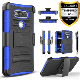 LG V20 Case, Dual Layers [Combo Holster] Case And Built-In Kickstand Bundled with [Premium Screen Protector] Hybird Shockproof And Circlemalls Stylus Pen (Blue)