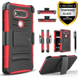 LG V20 Case, Dual Layers [Combo Holster] Case And Built-In Kickstand Bundled with [Premium Screen Protector] Hybird Shockproof And Circlemalls Stylus Pen (Red)