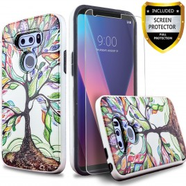 LG V30 Case, 2-Piece Style Hybrid Shockproof Hard Case Cover with [Premium Screen Protector] Hybird Shockproof And Circlemalls Stylus Pen (Tree)