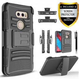 LG V30 Case, Dual Layers [Combo Holster] Case And Built-In Kickstand Bundled with [Premium Screen Protector] Hybird Shockproof And Circlemalls Stylus Pen (Black)