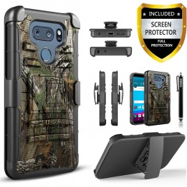 LG V30 Case, Dual Layers [Combo Holster] Case And Built-In Kickstand Bundled with [Premium Screen Protector] Hybird Shockproof And Circlemalls Stylus Pen (Camo)