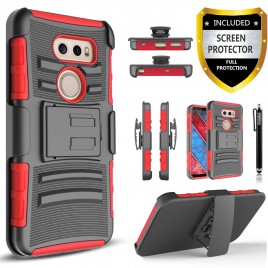 LG V30 Case, Dual Layers [Combo Holster] Case And Built-In Kickstand Bundled with [Premium Screen Protector] Hybird Shockproof And Circlemalls Stylus Pen (Red)