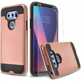 LG V30 Case, 2-Piece Style Hybrid Shockproof Hard Case Cover with [Premium Screen Protector] Hybird Shockproof And Circlemalls Stylus Pen (Rose Gold)