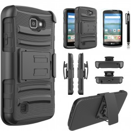LG K3 Case, Dual Layers [Combo Holster] Case And Built-In Kickstand Bundled with [Premium Screen Protector] Hybird Shockproof And Circlemalls Stylus Pen (Black)