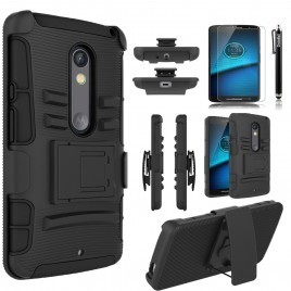 Motorola Droid Maxx 2 Case, Dual Layers [Combo Holster] Case And Built-In Kickstand Bundled with [Premium Screen Protector] Hybird Shockproof And Circlemalls Stylus Pen (Black)