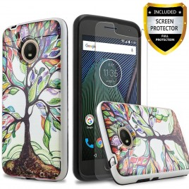 Motorola Moto E4 Plus Case, 2-Piece Style Hybrid Shockproof Hard Case Cover with [Premium Screen Protector] Hybird Shockproof And Circlemalls Stylus Pen (Lucky Tree)