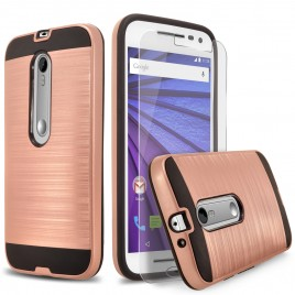 Motorola Moto G 3rd Gen (2015) Case, 2-Piece Style Hybrid Shockproof Hard Case Cover with [Premium Screen Protector] Hybird Shockproof And Circlemalls Stylus Pen (Rose Gold)