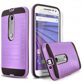 Motorola Droid Maxx 2 Case, 2-Piece Style Hybrid Shockproof Hard Case Cover with [Premium Screen Protector] Hybird Shockproof And Circlemalls Stylus Pen (Purple)
