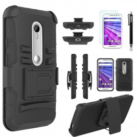 Motorola Moto G 3rd Gen Case, Dual Layers [Combo Holster] Case And Built-In Kickstand Bundled with [Premium Screen Protector] Hybird Shockproof And Circlemalls Stylus Pen (Black)