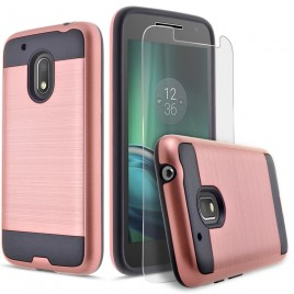 Motorola Moto G4 Play Case, 2-Piece Style Hybrid Shockproof Hard Case Cover with [Premium Screen Protector] Hybird Shockproof And Circlemalls Stylus Pen (Rose Gold)