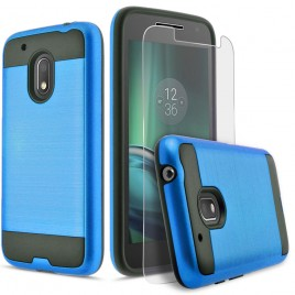 Motorola Moto G4 Play Case, 2-Piece Style Hybrid Shockproof Hard Case Cover with [Premium Screen Protector] Hybird Shockproof And Circlemalls Stylus Pen (Blue)