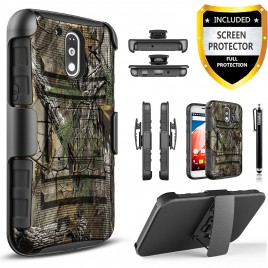 Motorola Moto G4 Play Case, Dual Layers [Combo Holster] Case And Built-In Kickstand Bundled with [Premium Screen Protector] Hybird Shockproof And Circlemalls Stylus Pen (Camo)