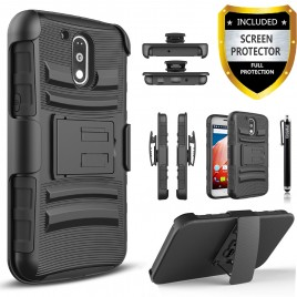 Motorola Moto G4 Play Case, Dual Layers [Combo Holster] Case And Built-In Kickstand Bundled with [Premium Screen Protector] Hybird Shockproof And Circlemalls Stylus Pen (Black)