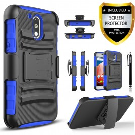 Motorola Moto G4 Play Case, Dual Layers [Combo Holster] Case And Built-In Kickstand Bundled with [Premium Screen Protector] Hybird Shockproof And Circlemalls Stylus Pen (Blue)