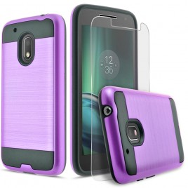 Motorola Moto G4 Play Case, 2-Piece Style Hybrid Shockproof Hard Case Cover with [Premium Screen Protector] Hybird Shockproof And Circlemalls Stylus Pen (Purple)