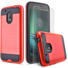 Motorola Moto G4 Play Case, 2-Piece Style Hybrid Shockproof Hard Case Cover with [Premium Screen Protector] Hybird Shockproof And Circlemalls Stylus Pen (Red)