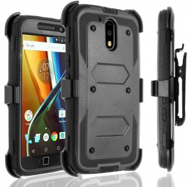 Motorola Moto G4, Moto G4 Plus Case, [SUPER GUARD] Dual Layer Protection With [Built-in Screen Protector] Holster Locking Belt Clip+Circle(TM) Stylus Touch Screen Pen (Black)