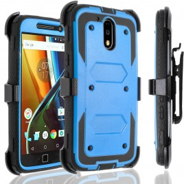 Motorola Moto G4, Moto G4 Plus Case, [SUPER GUARD] Dual Layer Protection With [Built-in Screen Protector] Holster Locking Belt Clip+Circle(TM) Stylus Touch Screen Pen (Blue)
