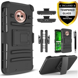 Moto G6  Plus Case, Circlemalls Dual Layers [Combo Holster] And Built-In Kickstand Bundled With [Tempered Glass Screen Protector] And Touch Screen Pen (Black)