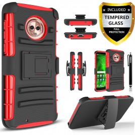 Moto G6  Plus Case, Circlemalls Dual Layers [Combo Holster] And Built-In Kickstand Bundled With [Tempered Glass Screen Protector] And Touch Screen Pen (Red)