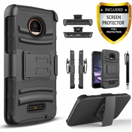 Motorola Moto Z2 Force Case, Dual Layers [Combo Holster] Case And Built-In Kickstand Bundled with [Premium Screen Protector] Hybird Shockproof And Circlemalls Stylus Pen (Black)