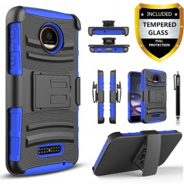Moto Z, Moto Z Droid Case, Dual Layers [Combo Holster] Case And Built-In Kickstand Bundled with [Premium Screen Protector] Hybird Shockproof And Circlemalls Stylus Pen For Motorola Moto Z / Moto Z Droid (Blue)