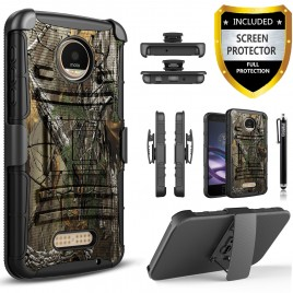 Motorola Moto Z2 Force Case, Dual Layers [Combo Holster] Case And Built-In Kickstand Bundled with [Premium Screen Protector] Hybird Shockproof And Circlemalls Stylus Pen (Camo)