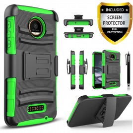 Moto Z, Moto Z Droid Case, Dual Layers [Combo Holster] Case And Built-In Kickstand Bundled with [Premium Screen Protector] Hybird Shockproof And Circlemalls Stylus Pen For Motorola Moto Z / Moto Z Droid (Green)