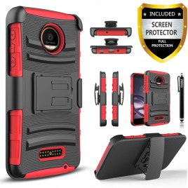 Motorola Moto Z2 Play Case, Dual Layers [Combo Holster] Case And Built-In Kickstand Bundled with [Premium Screen Protector] Hybird Shockproof And Circlemalls Stylus Pen (Red)
