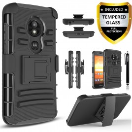 Moto E5 Play Case, E5 Cruise Case, Circlemalls Dual Layers [Combo Holster] And Built-In Kickstand Bundled With [Tempered Glass Screen Protector] And Touch Screen Pen (Black)