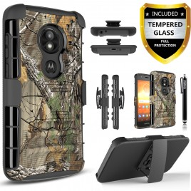 Moto E5 Play Case, E5 Cruise Circlemalls Dual Layers [Combo Holster] And Built-In Kickstand Bundled With [Tempered Glass Screen Protector] And Touch Screen Pen (Camo)