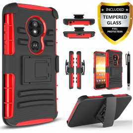 Moto E5 Play Case, E5 Cruise Case, Circlemalls Dual Layers [Combo Holster] And Built-In Kickstand Bundled With [Tempered Glass Screen Protector] And Touch Screen Pen (Red)