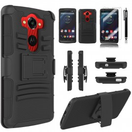 Motorola Droid Turbo Case, Dual Layers [Combo Holster] Case And Built-In Kickstand Bundled with [Premium Screen Protector] Hybird Shockproof And Circlemalls Stylus Pen (Black)